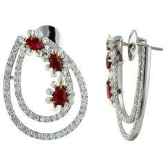 Studio Rêves Ruby and Diamond Earrings in 18 Karat Gold