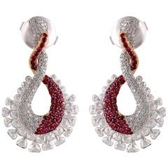 Studio Rêves Ruby and Diamond Studded Dangling Earrings in 18K Gold