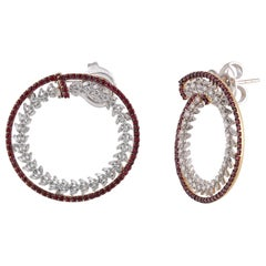Studio Rêves Ruby and Diamond Wreath Earrings in 18 Karat Gold