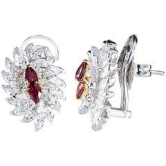 Studio Rêves Ruby and Marquise Diamond Stud Earrings in 18 Karat Gold