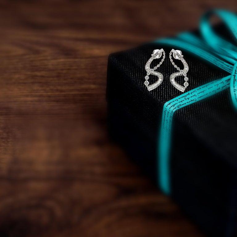 Women's Studio Rêves S-Shaped Diamond Earrings in 18 Karat White Gold