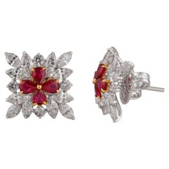 Studio Rêves Salient Cushion Shape Centered Ruby with Diamonds Stud Earrings