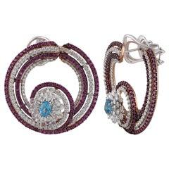 Studio Rêves Sea Shell Diamonds and Pink Sapphire Hoop Earrings in 18 Karat Gold