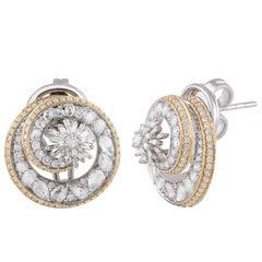 Studio Rêves Sea Shell Inspired Diamond Stud Earrings in 18 Karat Gold