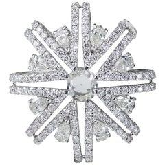 Studio Rêves Snowflakes Pendant in 18 Karat White Gold and Diamonds