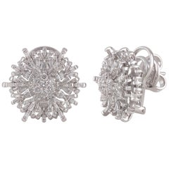 Studio Rêves Solitary Tapered Baguette Floral Stud Earrings in 18 Karat Gold