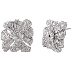 Studio Rêves Starburst Diamond Stud Earrings in 18 Karat White Gold