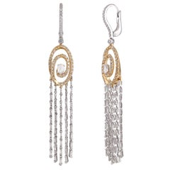 Studio Rêves Swirl around Rosecut Diamond Dangling Earrings in 18 Karat Gold