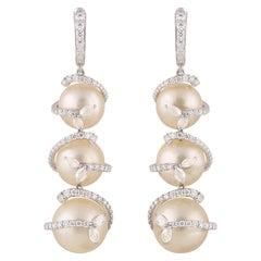 Studio Rêves Swirl Diamond and Pearl Dangling Earrings in 18 Karat Gold