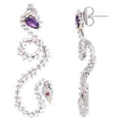Studio Rêves Tapered and Amethyst Diamond Dangling Earrings in 18 Karat Gold
