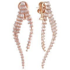 Studio Rêves Tapered Baguette Diamond Earrings in 18 Karat Gold