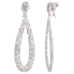 Studio Rêves Tapered Baguette Drop Shape Dangling Earrings in 18 Karat Gold