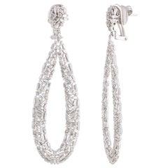 Studio Rêves Tapered Baguette Drop Shape Dangling Earrings in 18 Karat Gold