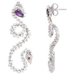 Studio Rêves Tapered Diamond Dangling Earrings in 18 Karat Gold with Amethyst