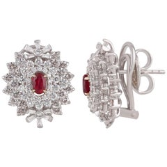 Studio Rêves Three Layers Diamond Stud Earrings with Center Ruby in 18K Gold