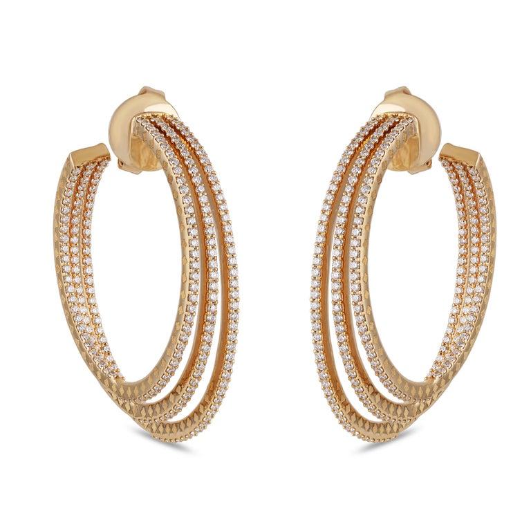 Round Cut Studio Rêves Three Line Round Diamond Hoop Earrings in 18 Karat Yellow Gold For Sale