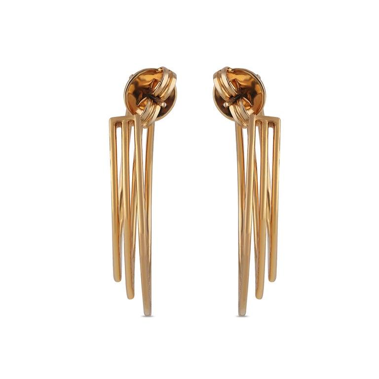 Women's Studio Rêves Three Line Round Diamond Hoop Earrings in 18 Karat Yellow Gold For Sale