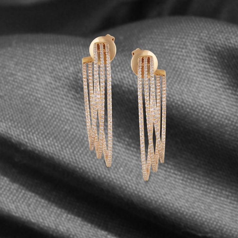 Studio Rêves Three Line Round Diamond Hoop Earrings in 18 Karat Yellow Gold For Sale 1