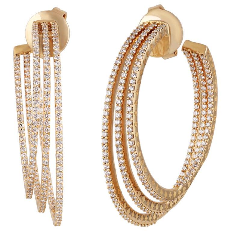 Studio Rêves Three Line Round Diamond Hoop Earrings in 18 Karat Yellow Gold For Sale