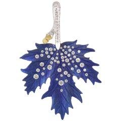 Studio Rêves Titanium and 18 Karat Rose Gold Autumn Leaf Pendant with Diamonds
