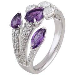 Studio Rêves Trident Amethyst and Diamonds Ring in 18 Karat Gold