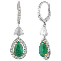 Studio Rêves Trillion Rose Cut and Emerald Dangling Earrings in 18 Karat Gold