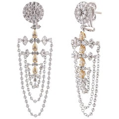 Studio Rêves White and Yellow Diamond Studded 18 Karat Gold Dangling Earrings