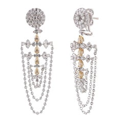 Studio Rêves White and Yellow Diamonds Chandelier Earrings in 18 Karat Gold