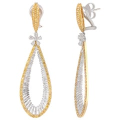 Studio Rêves Yellow and White Diamond Drop Dangling Earrings in 18 Karat Gold