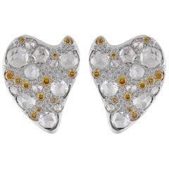 Studio Rêves Yellow and White Diamonds Stud Earrings in 18 Karat Gold