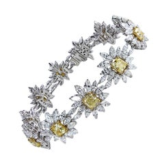Studio Rêves Yellow Cushion Cut and Diamonds Floral Tennis Bracelet in 18K Gold