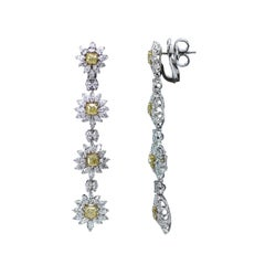 Studio Rêves Yellow Cushion Cut and White Diamonds Floral Earrings in 18K Gold
