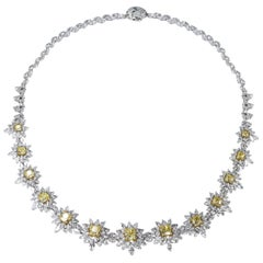 Studio Rêves Yellow Cushion Cut and White Diamonds Floral Necklace in 18K Gold