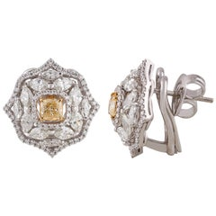 Studio Rêves Yellow Cushion Diamonds and White Diamonds Earrings in 18K Gold
