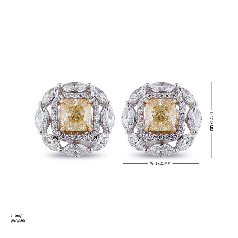 Studio Rêves Yellow Cushion Stud Earrings In New Condition For Sale In Mumbai, Maharashtra