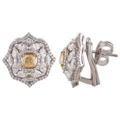 Studio Rêves Yellow Cushion with White Diamonds Stud Earrings in 18 Karat Gold