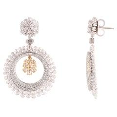 Studio Rêves Yellow Diamond and Rosecuts Dangling Earrings in 18 Karat Gold