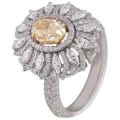 Studio Rêves Yellow Diamond Sunrays Ring in 18 Karat Gold