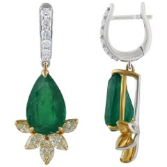 Studio Rêves Yellow Marquise and Emeralds Drop Earrings in 18 Karat Gold
