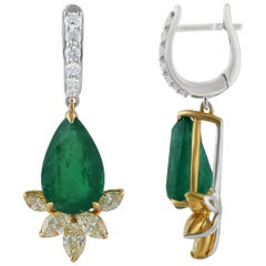 Studio Rêves Yellow Marquise and Emeralds Lever-Back Earrings in 18 Karat Gold