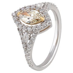 Studio Rêves Yellow Marquise Engagement Ring in 18 Karat Gold