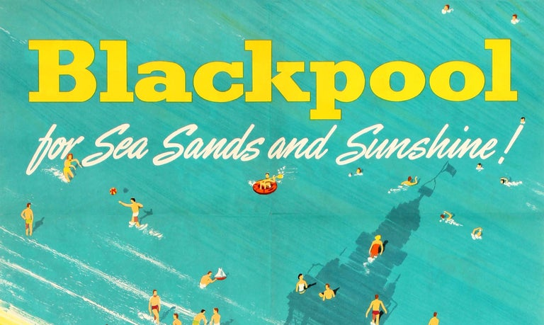 Original Vintage British Railways Poster - Blackpool for Sea Sands and Sunshine! - Print by Studio Seven
