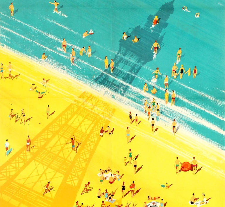 Original Vintage British Railways Poster - Blackpool for Sea Sands and Sunshine! - Blue Print by Studio Seven
