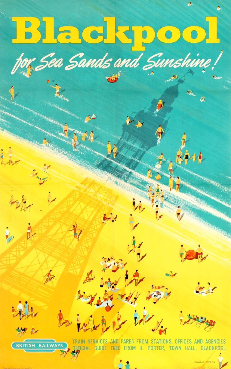 Studio Seven Print - Original Vintage British Railways Poster - Blackpool for Sea Sands and Sunshine!