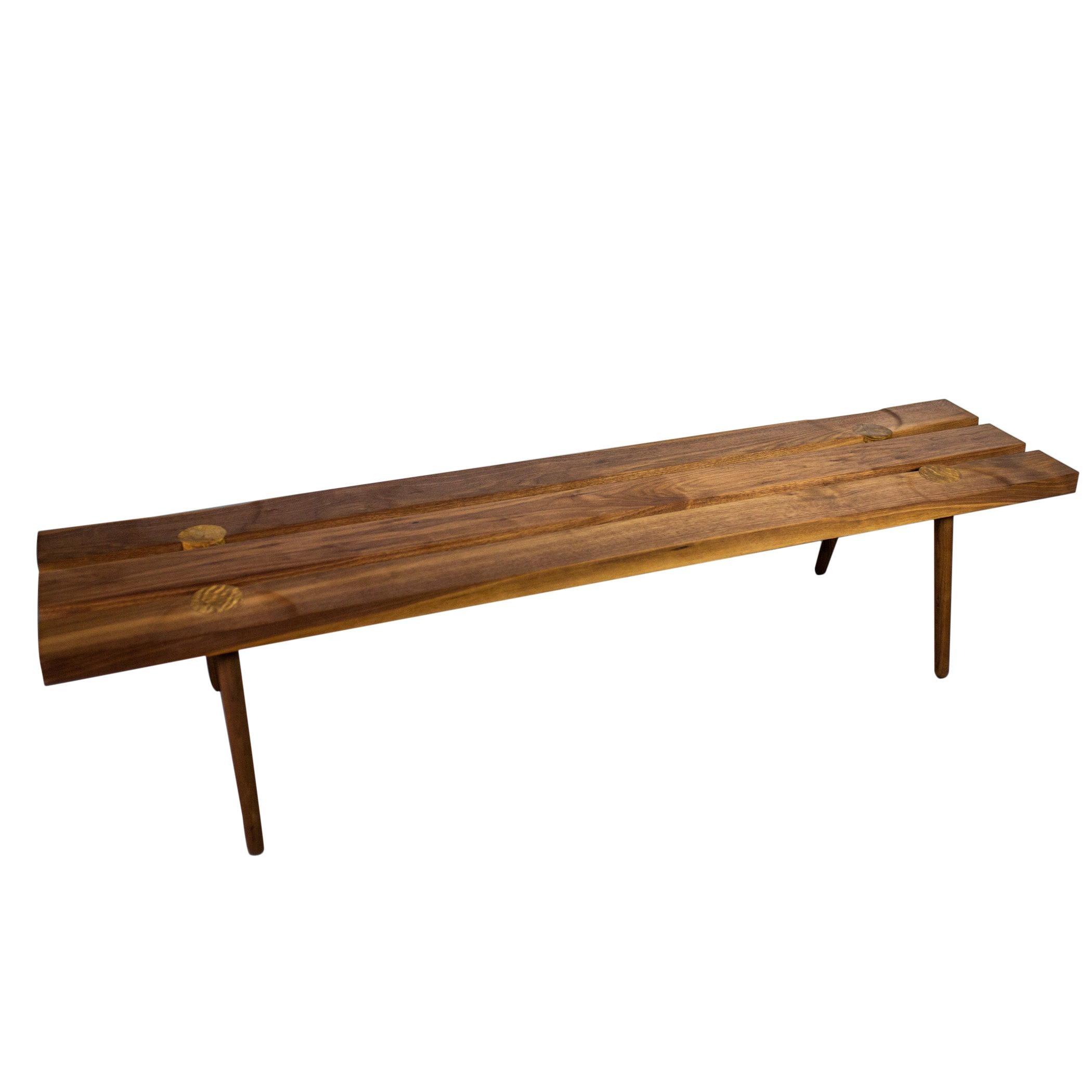Studio Slat Bench by Michael Rozell USA 2020 in Walnut and White Oak Inlays