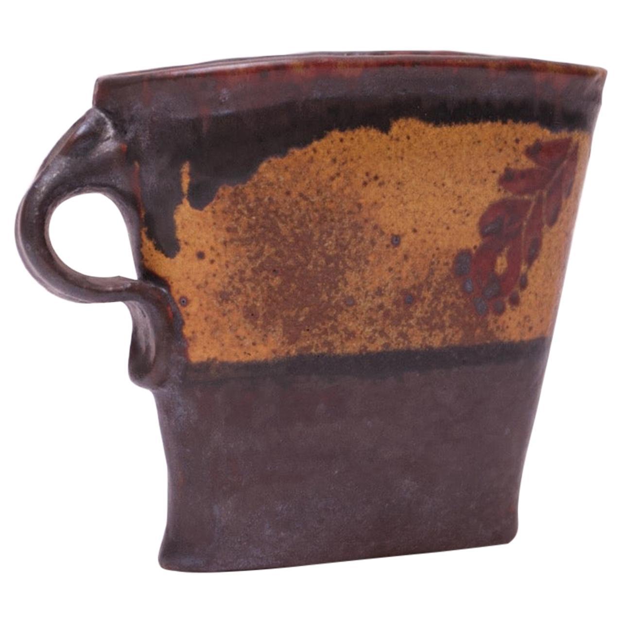 "Studio Stoneware Pitcher / Vase Signed ""Pollack 70"""