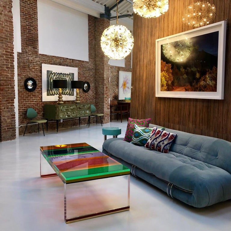 Studio Superego Modern Multicolor Plexiglass and Brass Feet Italian Coffee Table For Sale 6
