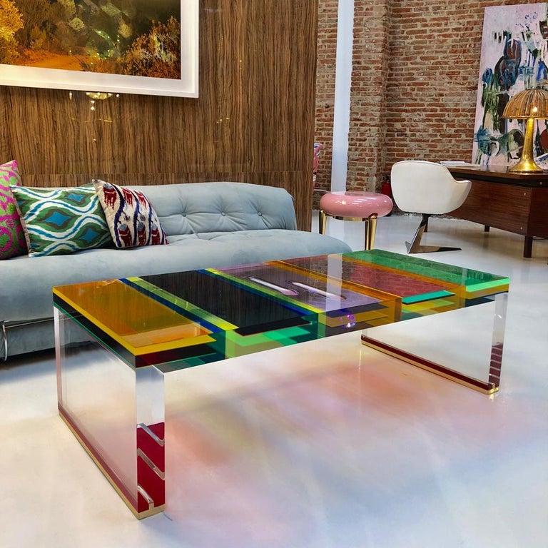 Studio Superego Modern Multicolor Plexiglass and Brass Feet Italian Coffee Table For Sale 7