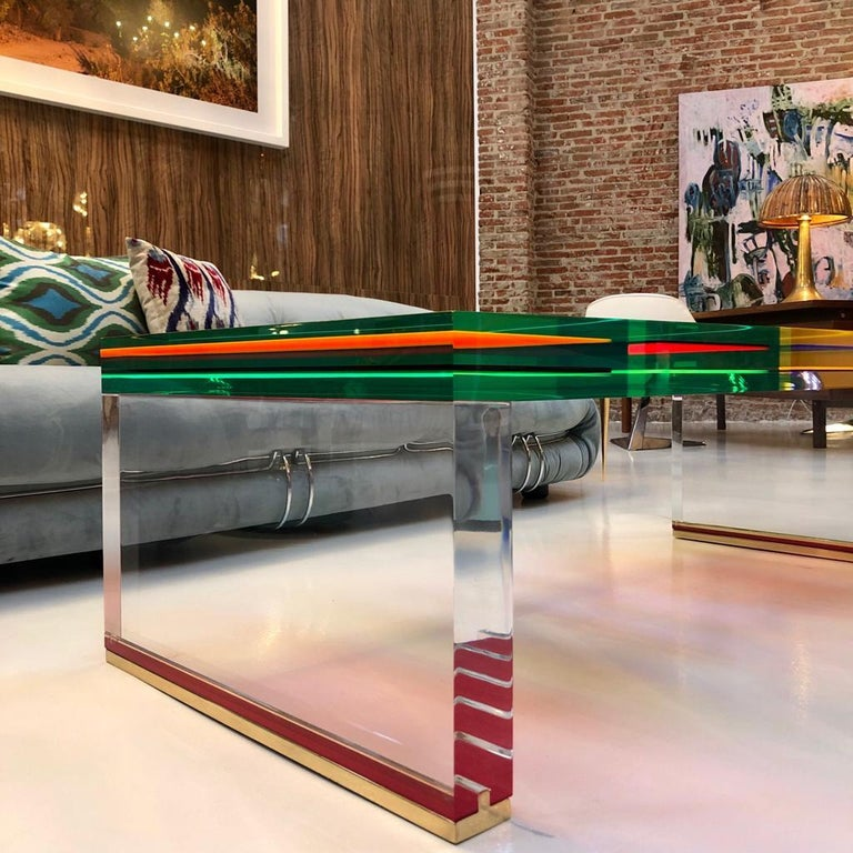 Studio Superego Modern Multicolor Plexiglass and Brass Feet Italian Coffee Table For Sale 8