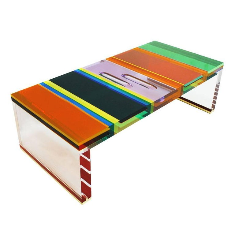 Studio Superego Modern Multicolor Plexiglass and Brass Feet Italian Coffee Table In Good Condition For Sale In Madrid, ES